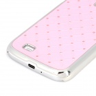 Stylish Crystal-inlaid Protective Plastic Back Case for Samsung S4 i9500 - Light Pink + Silver