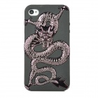 Cool Dragon Style Protective PC + TPU Back Case for iPhone 4S - Silver Black + Black