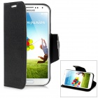 Protective PU Leather Case w/ Card Slot for Samsung Galaxy S4 i9500 - Black