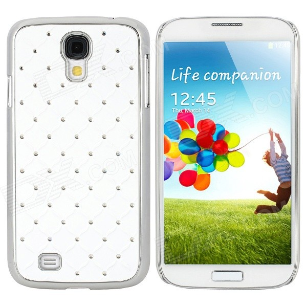 Stylish Crystal-inlaid Protective Plastic Back Case for Samsung Galaxy S4 i9500 - White + Silver stylish crystal inlaid protective plastic back case for samsung s4 i9500 blueish green gray