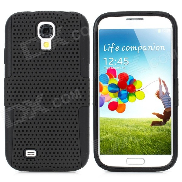 Protective Plastic Mesh & Silicone Back Case for Samsung Galaxy S4 i9500 - Black cool basketball skin pattern silicone protective back case for samsung galaxy s4 i9500 black red