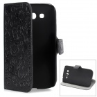 Cartoon Style Protective PU Leather + PC Case for Samsung Galaxy Grand Duos i9082 - Black
