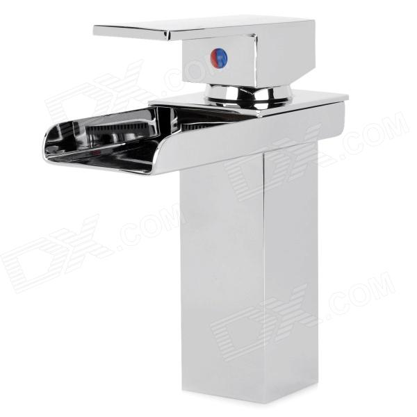 PHASAT 4905 Modern Chromed Brass Waterfall Kitchen Sink Faucet Water Tap - Silver us free shipping wholesale and retail oil rubbed bronze bathrom waterfall sink basin faucet mixer tap glass spout wall mount
