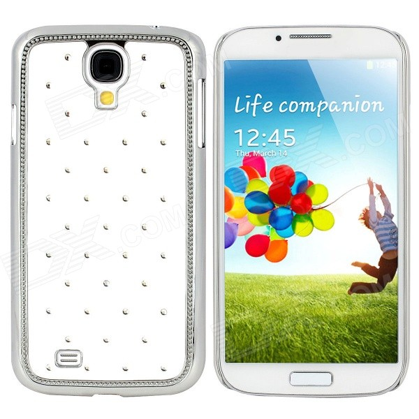 TEMEI Protective Rhinestone PC Back Case for Samsung Galaxy S4 i9500 - White + Silver protective hollow out matte pc back case for samsung galaxy s4 zoom sm c1010 blue