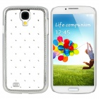 TEMEI Protective Rhinestone PC Back Case for Samsung Galaxy S4 i9500 - White + Silver