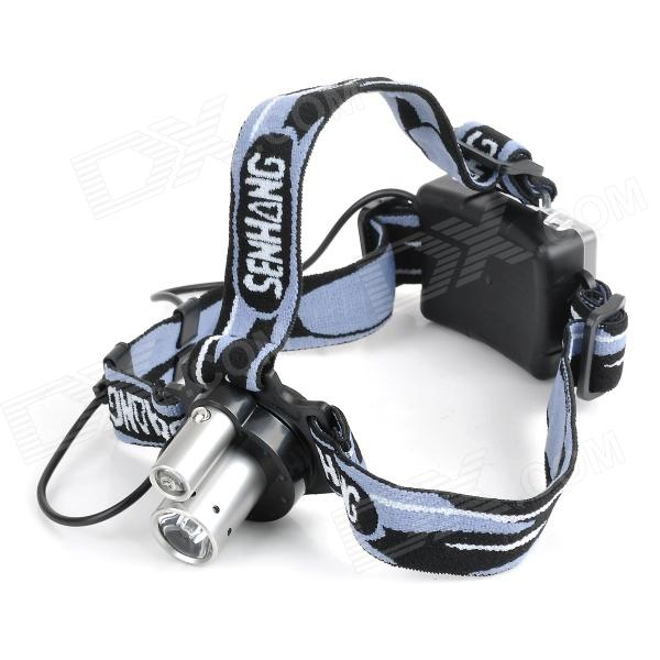 SENMU SM-6652 2-LED 80lm 3W + 1W White Headlamp - Silver + Black (3 x AA)