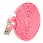 USB to 8-Pin Lightning Charging Flat Cable for iPhone 5 - Pink (300CM)
