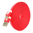 USB to 8-Pin Lightning Charging Flat Cable for iPhone 5 - Red (300CM)