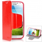 Ultrathin Protective PU Leather + Plastic Case for Samsung Galaxy S4 i9500 - Red