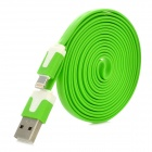 USB to 8-Pin Lightning Charging Flat Cable for iPhone 5 - Green (200CM)