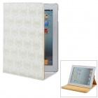 Stylish Protective Spider Pattern Print PU Leather Case w/ Rotatable Holder for Ipad 4 - Beige