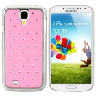 Stylish Crystal-inlaid Protective Plastic Back Case for Samsung Galaxy S4 i9500 - Pink + Silver