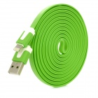 USB to 8-Pin Lightning Charging Flat Cable for iPhone 5 - Green (300CM)