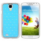 Stylish Crystal-inlaid Protective Plastic Back Case for Samsung Galaxy S4 i9500 - Blue + Silver