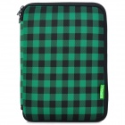 Protective Tartan Plaid Pattern Lycra Cushion Pouch for iPad 2 / 3 / 4 - Black + Green