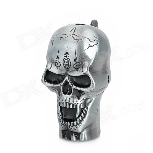 Skull Style Blue Flame Windproof Butane Jet Lighter - Antique-pewter chili pepper style zinc alloy butane gas lighter green