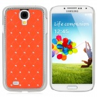 Stylish Crystal-inlaid Protective Plastic Back Case for Samsung Galaxy S4 i9500 - Jacinth + Silver
