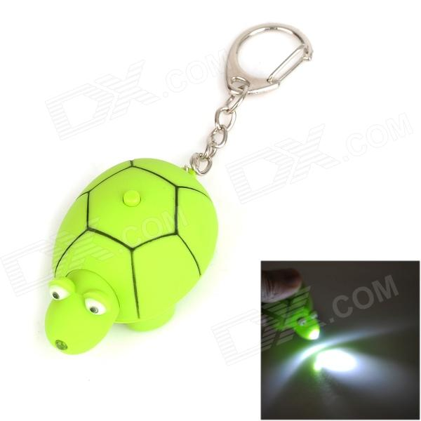 Cute Tortoise Style LED White Light Keychain - Green (3 x AG10) cute hippo style plastic key chain w led white light green 3 x ag10