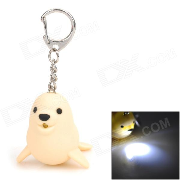 Cute Seal Style LED White Light Keychain - Beige (3 x AG10) cute seal style led white light keychain blue 3 x ag10