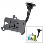 Car 360 Degrees Adjustable Metal Holder Stand w/ Suction Cup for Samsung Galaxy S4 i9500 - Black