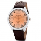 DAYBIRD 3625-BN Stainless Steel Artificial Leather Band Quartz Analog Wrist Watch for Men - Brown