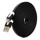 USB to 8-Pin Lightning Charging Flat Cable for iPhone 5 - Black (300CM)
