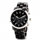 80025-B Men's Resin Glass Dial Stainless Steel Quartz Analog Wrist Watch - Black + Silver