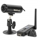 800T 2,4 GHz 4-CH CMOS Wireless Camera / USB DVR w / 9-IR LED - Schwarz (PAL / NTSC)