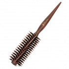 Sharp End Wood Handle Pig Mane Curly Hair Comb - Brown