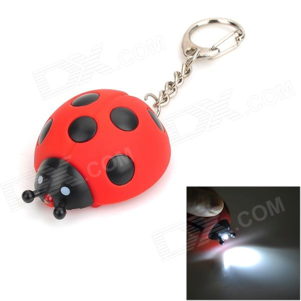 Ladybug Style LED White Light Keychain - Red + Black (3 x AG10)