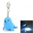Cute Seal Style LED White Light Keychain - Blue (3 x AG10)