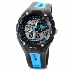 O.tage Rubber Quartz Analog + Digital Wrist Watch for Men - Black + Blue