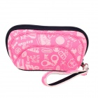 Practical Neoprene + Nylon Cosmetic Medicine Storage Bag - Pink + Black