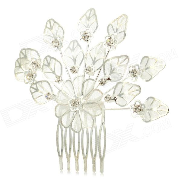 ZX-0189 Elegant Leaf Shape Rhinestone Decoration 6-Teeth Hairpin - Silver метеостанция bresser брессер national geographic с одним экраном