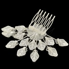 ZX-0189 Elegant Leaf Shape Rhinestone Decoration 6-Teeth Hairpin - Silver