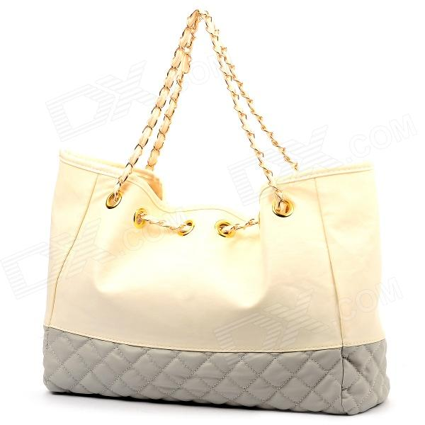 WS_331 Rhombus Grid Pattern PU Shoulder Bag / Handbag for Women - White + Grey