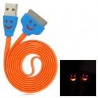 USB zu Apple 30-Pin-Daten-/ Ladekabel w / Smiley Indicator Light for iPhone 4 / 4S - Orange