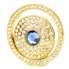 Car Button Starter Rhinestone Decoration Ring - Golden + White
