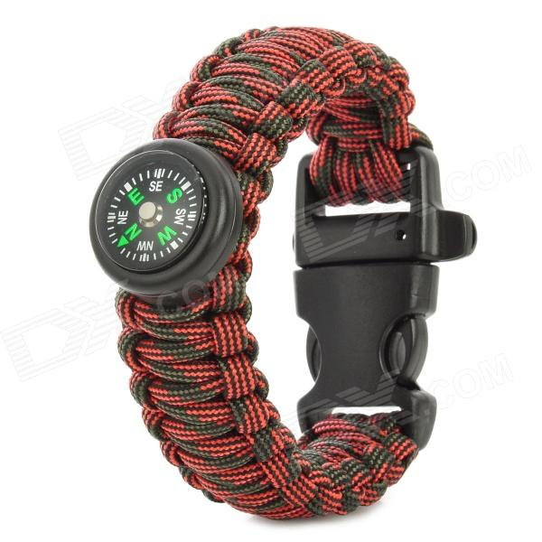 Bracelet Style Outdoor Survival Emergency Rope + Compass - Red + Green