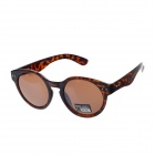 Fashion UV400 Protection Leopard Print PC Frame Resin Lens Round Sunglasses - Brown + Black