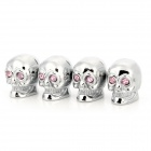 Skull Style Bike Car Motorcycle Tire Valve Dust Cap Cover w/ Crystal - Silver (4PCS)