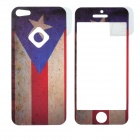 ITOP US Flag Style Decorative Protective Frosted Front + Back Sticker for Iphone 5 - Blue + Red
