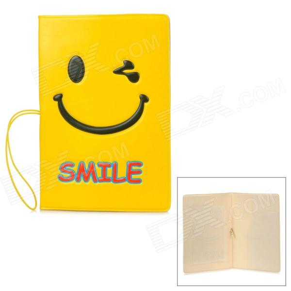 PVC Smiling Face Travelling Passport Holder - Yellow