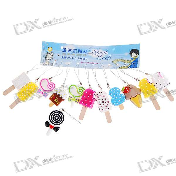 Realistic Cute Ice-lolly Cell Phone Straps (12-Piece Pack)