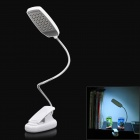 Clip-On USB Power 5W 150lm 6500K 28-LED White Light Flexible Neck Reading Lamp - White (3 x AAA)