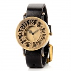 Water Resistant Zinc Alloy PU Band Quartz Analog Wrist Watch for Women - Black + Bronze