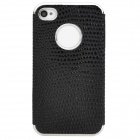 Stylish Snakeskin Pattern Electroplating Plastic Back Case for Iphone 4S / 4 - Black