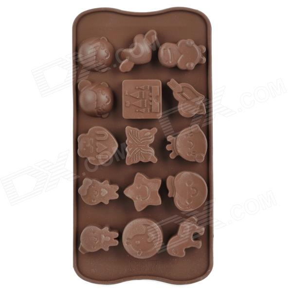 DIY Plastic Butterfly Star Style 15-Cup Chocolate / Ice Tray Mould - Coffee diy silicone 11 cup fruit style chocolates ice tray mould yellow