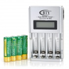 "BTY N-903 1.5"" LCD AA / AAA Battery Charger + 4 x AA Rechargeable 3000mAh Batteries - Silver + Grey"
