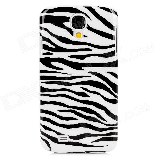 Zebra Stripe Pattern Protective Plastic Back Case for Samsung Galaxy S4 / i9500 - Black + White protective cute spots pattern back case for samsung galaxy s4 i9500 multicolored